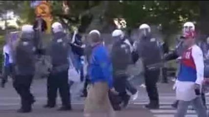 Борба с футболните хулигани в Хелзинки Финландия - Русия