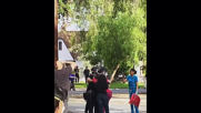 USA: Protester hugs police officer during demonstration in LA suburb