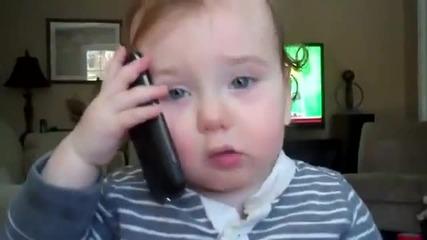 Бебе говори по телефона_смях