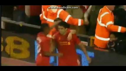 Гола на Luis Suarez - Liverpool vs Hearts 30.08.2012