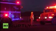 USA: Huge wildfire blaze sweeps California highway