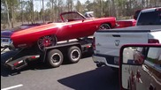 Dually Towing the Donk on 30s with the Widebody Camaro Everything Candy Red!