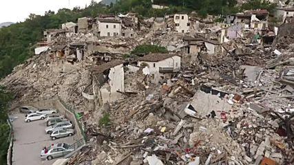 Дрон засне разрушенията от земетресението в Италия