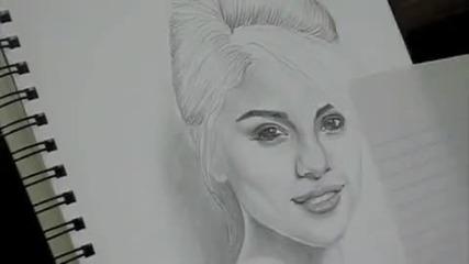 Рисунката направо оживя!! портрет на Селена Гомез !!