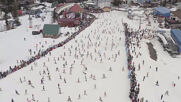 Snowbathers! Hundreds of riders take part in bikini show at Siberian ski resort