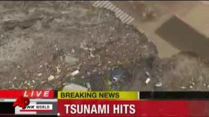 цунамито повлича всичко в северна Япония