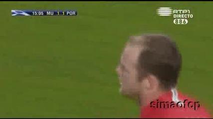 Манчестър Юнайтед 2 - 2 Порто - Уейн Руни гол *07.04.09*
