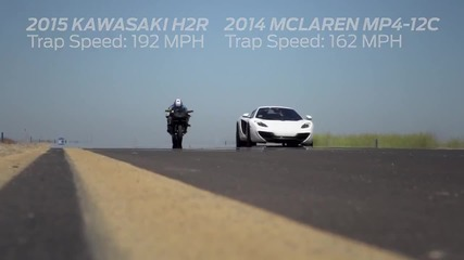 Kawasaki H 2 R vs Mc Laren M P 4-12 C / Bugatti Veyron / Nissan G T R