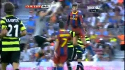 Gerard Pique vs Hercules goalkeeper [head shock]
