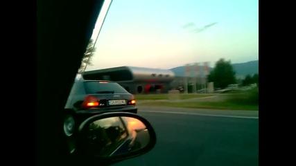 Honda Civic Turbo ( рибата ) vs Audi A3 Turbo ( пешо )