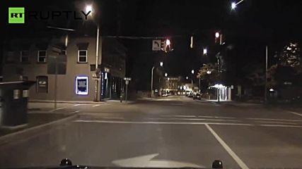 Police Dashcam Captures Fireball Speeding Through New York Sky
