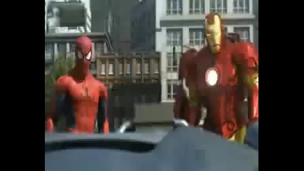 Ironman,spiderman,hulk vs. A robot__