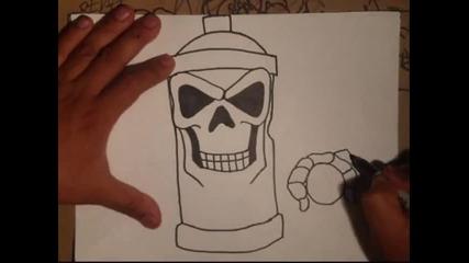 много яко рисуване на скелет спрей