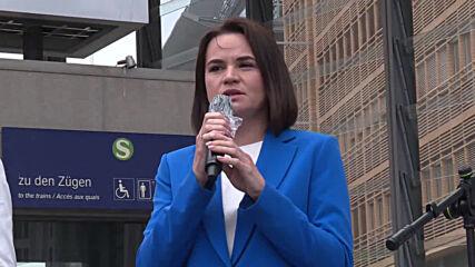 Germany: Belarusian opposition leader Tikhanovskaya attends Berlin demo