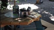 Катеричка бързо си отмъква салфетки от маса за пикник в парка