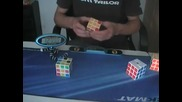 Нареждане на 5 кубчета на Рубик за 2 минути