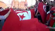 Russia: Tunisia supporters turn Moscow RED ahead of Belgium match
