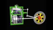 Принцип на действие на парен двигател анимация