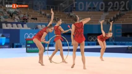 България ансамбъл - обръчи и бухалки - Олимпийски шампионки - Токио 2020