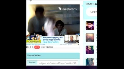 One Direction twitcam 8/30/12 Част 1