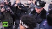 Ukraine: Police detain topless FEMEN activists outside Ukrainian Parliament