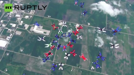 Stunning Skydive Stunt 'Eagles Nest' for World Record Attempt