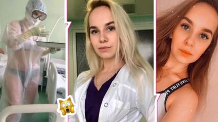 Коя е руската сестра, появила се по бански при болни от COVID-19? Вижте красивата Надежда