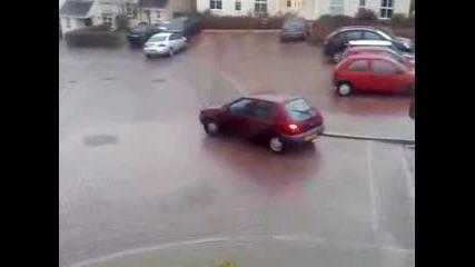 Icy car crash uk