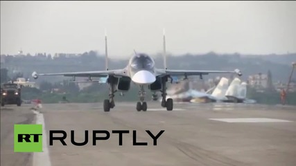 Syria: Russian jet fighters fly into action from Hmeymim Air Base