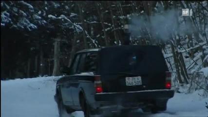 Швейцарец си монтира печка в колата