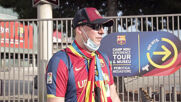 Spain: Fans gather to support Barcelona during closed-doors  Champions League game against Napoli