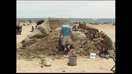 Състезание по извайването на пясъчни фигури се проведе в Ню Йорк