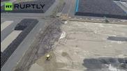 Разчистването на ядрените отпадъци във Фукушима, заснето от дрон