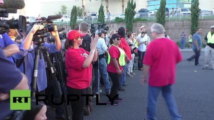 USA: Hillary Clinton joins anti-Trump protest in Las Vegas