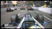 F1 Гран при на Монако 2012 - Maldonado се качва върху болида на de la Rosa и чупи задното му крило