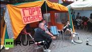 Кадри от лагера на протестиращите в Скопие