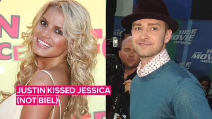 Justin Timberlake won a bet to kiss Jessica Simpson