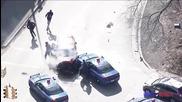 Луда гонка, заснета с хеликоптер в Америка завършва с катастрофа и арест!