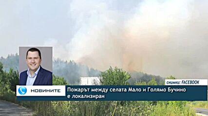 Пожарът между селата Мало и Голямо Бучино е локализиран