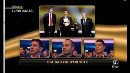 Носител на Златна Топка за 2012 е Лионел Меси ..