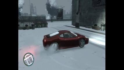 Така се пръскат гумите на Ferrari - Gta Iv Snow Mod