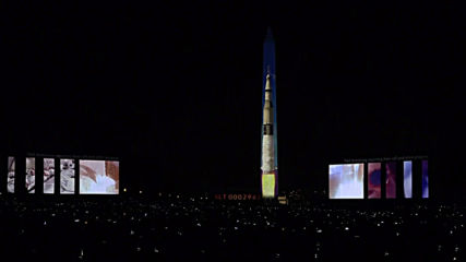 USA: Rocket projection blasts off from Washington Monument to mark Apollo 11 moon mission