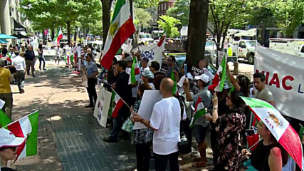 USA: Iranian diaspora protesters rally outside National Iranian American Council in DC