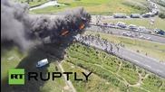 France: Drone footage captures huge blaze on Calais motorway
