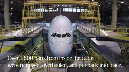 Как се прави поддръжка и обновяване на Еърбъс A380, в Арабските Емирства