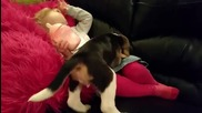 Кученце се опитва да достигне детето на дивана: когато най-накрая го прави вашето сърце ще се стопи