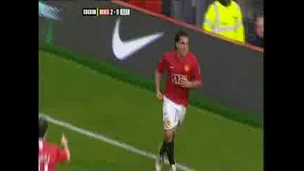 Man United 2 - 0 Aston Villa (tevez Goal)