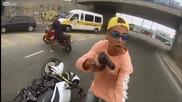 Крадец е прострелян от полицай при опит да открадне мотор - Заснето с Helmet Cam