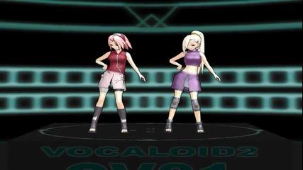 3d Сакура и Ино танцуват