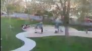 Ужасяваща гледка.огромно дърво рухна върху детска площадка в град Челси в американския щат Масачузет